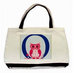 Alphabet Letter O With Owl Illustration Ideal For Teaching Kids Basic Tote Bag (two Sides) by Nexatart