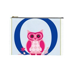 Alphabet Letter O With Owl Illustration Ideal For Teaching Kids Cosmetic Bag (large)  by Nexatart