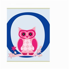 Alphabet Letter O With Owl Illustration Ideal For Teaching Kids Small Garden Flag (two Sides) by Nexatart