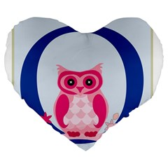 Alphabet Letter O With Owl Illustration Ideal For Teaching Kids Large 19  Premium Heart Shape Cushions by Nexatart