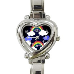 Rainbow Animation Heart Italian Charm Watch by Nexatart