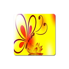 Butterfly Background Wallpaper Texture Square Magnet