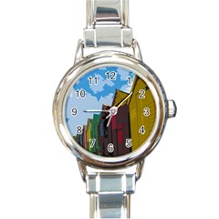 Brightly Colored Dressing Huts Round Italian Charm Watch by Nexatart
