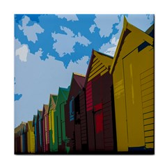 Brightly Colored Dressing Huts Tile Coasters by Nexatart