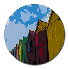 Brightly Colored Dressing Huts Round Mousepads by Nexatart