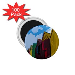 Brightly Colored Dressing Huts 1 75  Magnets (100 Pack)  by Nexatart
