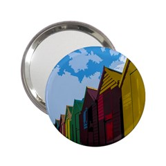 Brightly Colored Dressing Huts 2 25  Handbag Mirrors by Nexatart