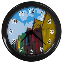 Brightly Colored Dressing Huts Wall Clocks (black) by Nexatart