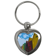 Brightly Colored Dressing Huts Key Chains (heart)  by Nexatart