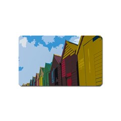 Brightly Colored Dressing Huts Magnet (name Card) by Nexatart