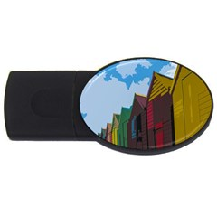 Brightly Colored Dressing Huts Usb Flash Drive Oval (2 Gb) by Nexatart