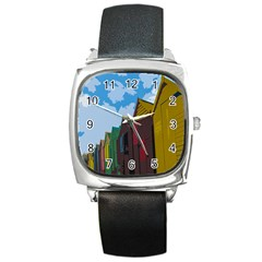 Brightly Colored Dressing Huts Square Metal Watch by Nexatart