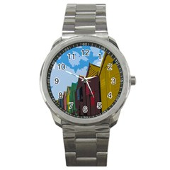 Brightly Colored Dressing Huts Sport Metal Watch by Nexatart