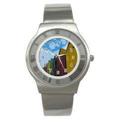 Brightly Colored Dressing Huts Stainless Steel Watch by Nexatart