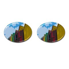 Brightly Colored Dressing Huts Cufflinks (oval) by Nexatart