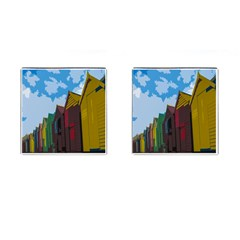 Brightly Colored Dressing Huts Cufflinks (square) by Nexatart