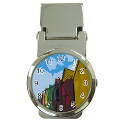 Brightly Colored Dressing Huts Money Clip Watches by Nexatart