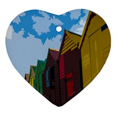 Brightly Colored Dressing Huts Heart Ornament (two Sides) by Nexatart