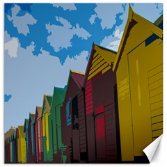 Brightly Colored Dressing Huts Canvas 16  X 16   by Nexatart