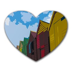 Brightly Colored Dressing Huts Heart Mousepads by Nexatart