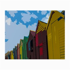 Brightly Colored Dressing Huts Small Glasses Cloth (2 Side) by Nexatart