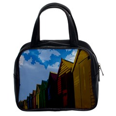 Brightly Colored Dressing Huts Classic Handbags (2 Sides) by Nexatart