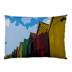 Brightly Colored Dressing Huts Pillow Case by Nexatart