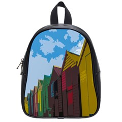 Brightly Colored Dressing Huts School Bags (small)  by Nexatart