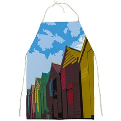 Brightly Colored Dressing Huts Full Print Aprons by Nexatart