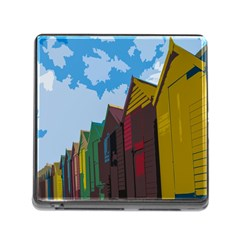 Brightly Colored Dressing Huts Memory Card Reader (square) by Nexatart