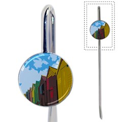 Brightly Colored Dressing Huts Book Mark by Nexatart