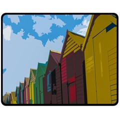 Brightly Colored Dressing Huts Fleece Blanket (medium)  by Nexatart