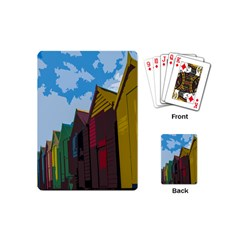 Brightly Colored Dressing Huts Playing Cards (mini)  by Nexatart