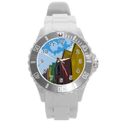 Brightly Colored Dressing Huts Round Plastic Sport Watch (l) by Nexatart