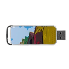 Brightly Colored Dressing Huts Portable Usb Flash (two Sides) by Nexatart