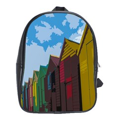 Brightly Colored Dressing Huts School Bags (xl)  by Nexatart
