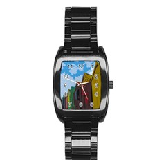Brightly Colored Dressing Huts Stainless Steel Barrel Watch by Nexatart