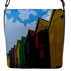 Brightly Colored Dressing Huts Flap Messenger Bag (s) by Nexatart