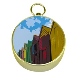 Brightly Colored Dressing Huts Gold Compasses by Nexatart