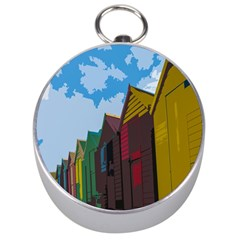 Brightly Colored Dressing Huts Silver Compasses by Nexatart