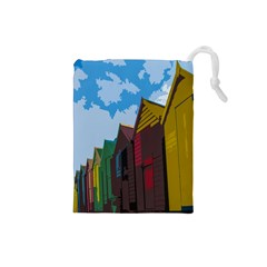 Brightly Colored Dressing Huts Drawstring Pouches (small)  by Nexatart