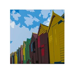 Brightly Colored Dressing Huts Small Satin Scarf (square) by Nexatart