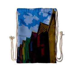 Brightly Colored Dressing Huts Drawstring Bag (small) by Nexatart
