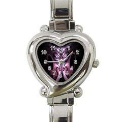 Angry Mantis Fractal In Shades Of Purple Heart Italian Charm Watch by Nexatart