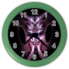 Angry Mantis Fractal In Shades Of Purple Color Wall Clocks