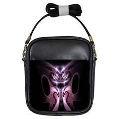Angry Mantis Fractal In Shades Of Purple Girls Sling Bags by Nexatart