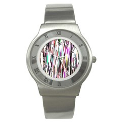 Randomized Colors Background Wallpaper Stainless Steel Watch