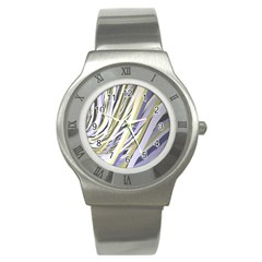 Wavy Ribbons Background Wallpaper Stainless Steel Watch by Nexatart
