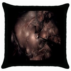 A Fractal Image In Shades Of Brown Throw Pillow Case (black) by Nexatart