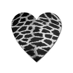 Black And White Giraffe Skin Pattern Heart Magnet by Nexatart